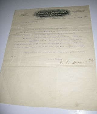 1898 Boston Bankers & Brokers Letter On Klondike Gold Expedition,  Mining Stock photo
