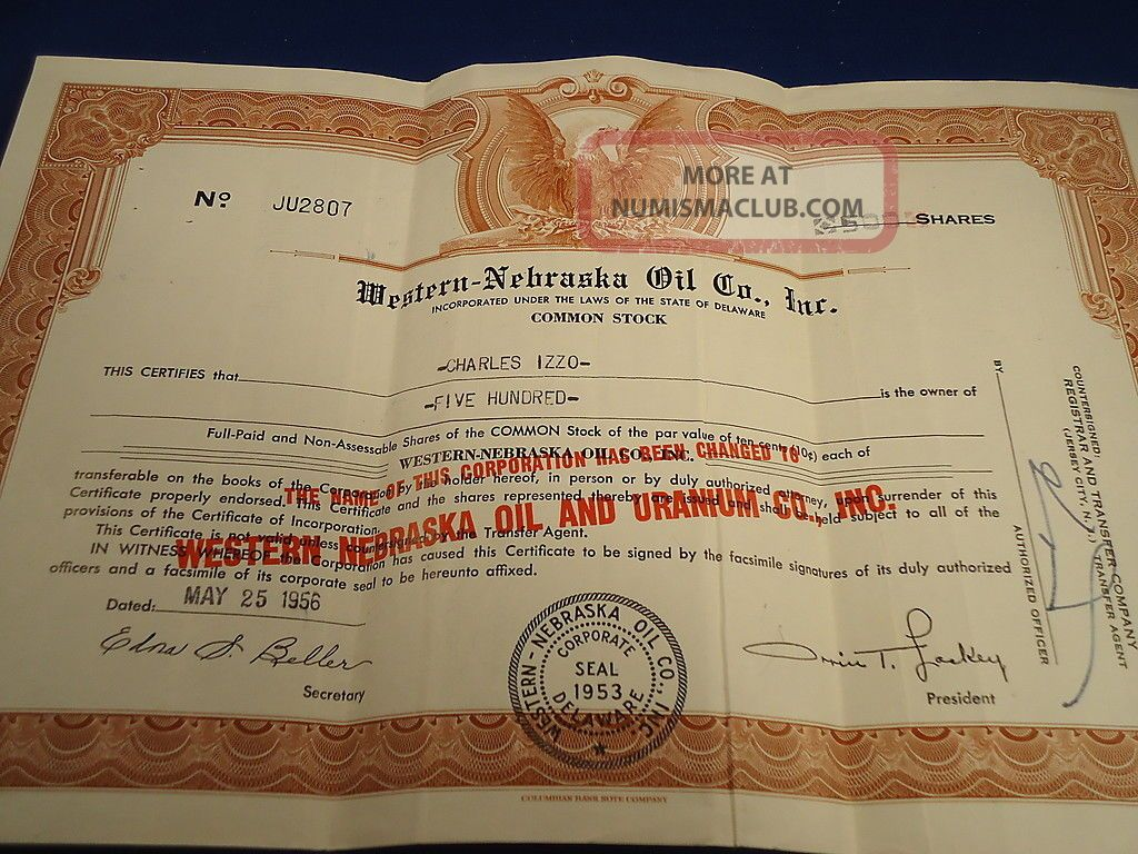 Stock Certificate 500 Shares Western Nebraska Oil & Uranium Co.  1956 Mining De Stocks & Bonds, Scripophily photo