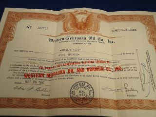 Stock Certificate 500 Shares Western Nebraska Oil & Uranium Co.  1956 Mining De photo