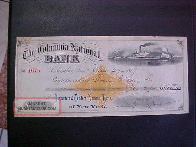 1877 The Columbia National Bank Check - York Stocks & Bonds, Scripophily photo