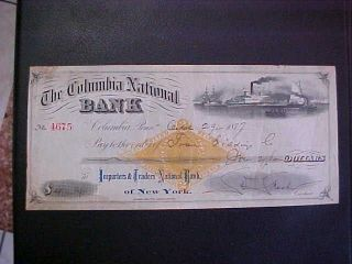 1877 The Columbia National Bank Check - York photo