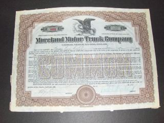 Moreland Motor Truck Co Stock Certificate 10 Shares 1924 Los Angeles Ca 4632 photo