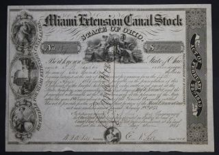 Miami Extension Canal 1845 Capital Stock Certificate photo