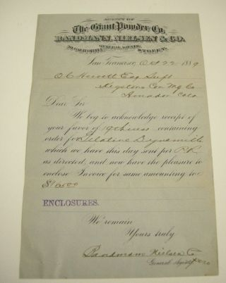 1889 Giant Powder Company Agency Bill For Dynamite Keystone Mining San Francisco photo