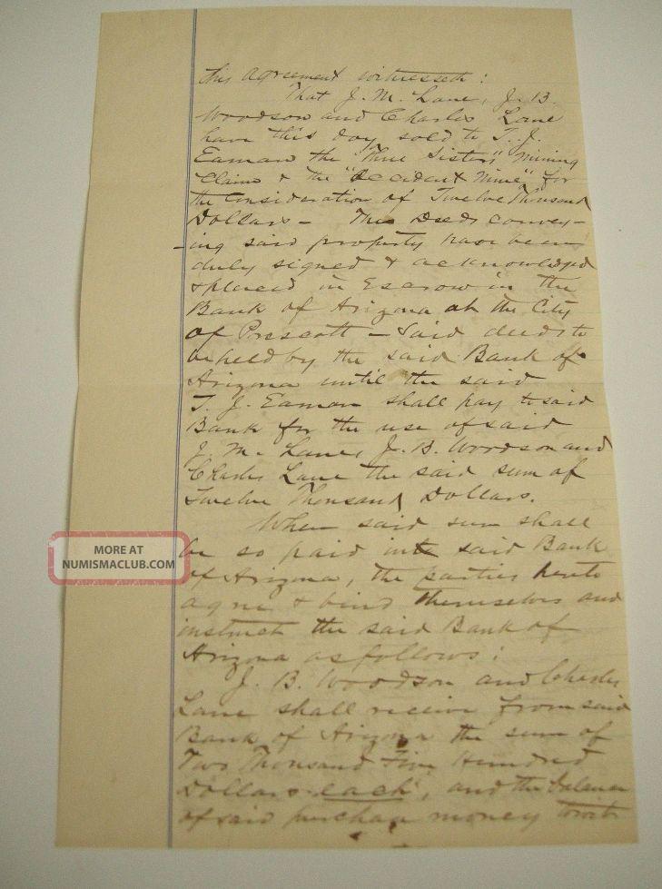 1884 Mining Document Contract Arizona Gold Mines Accident & Three Sisters Mine Stocks & Bonds, Scripophily photo
