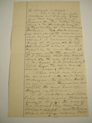 1884 Mining Document Contract Arizona Gold Mines Accident & Three Sisters Mine photo