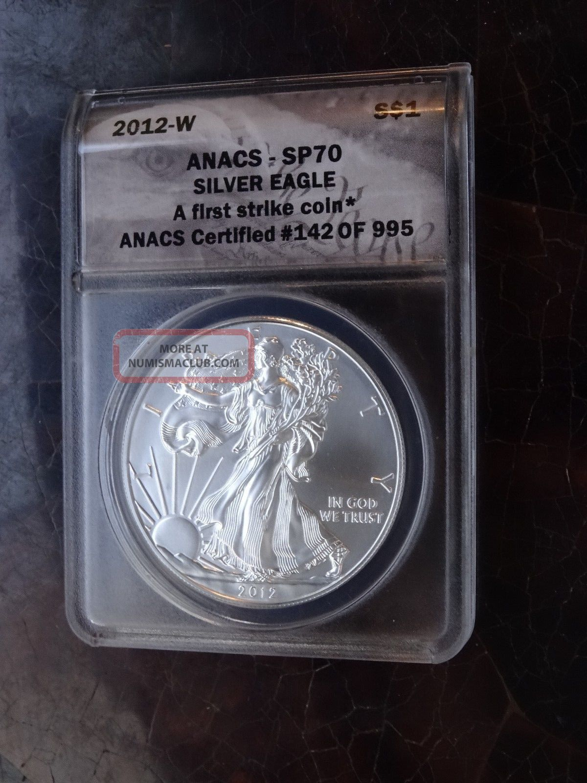 2012 W Burnished American Silver Eagle Anacs Sp70 Ms70