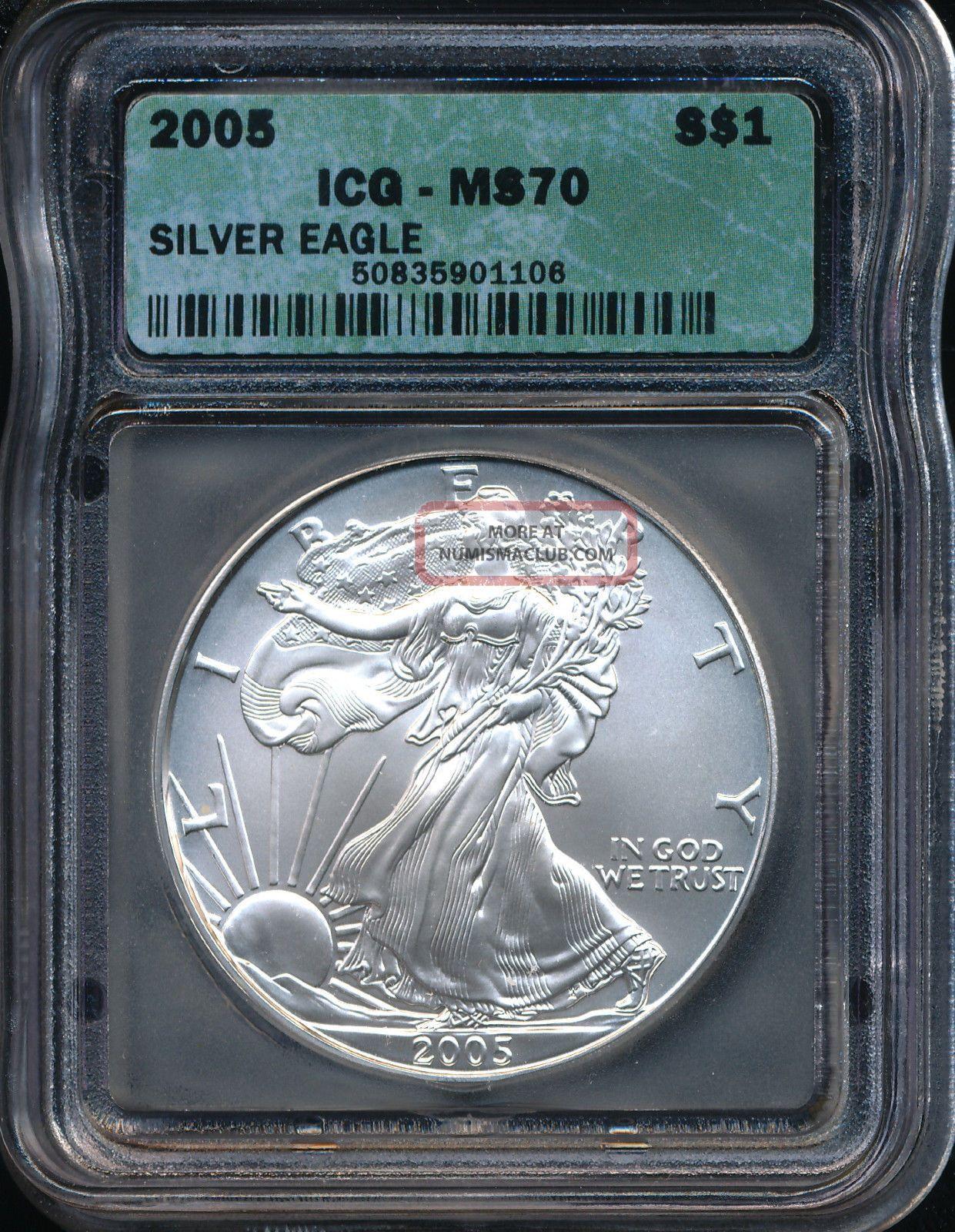 2005 Silver American Eagle Coin Icg Ms 70 Aeg1606