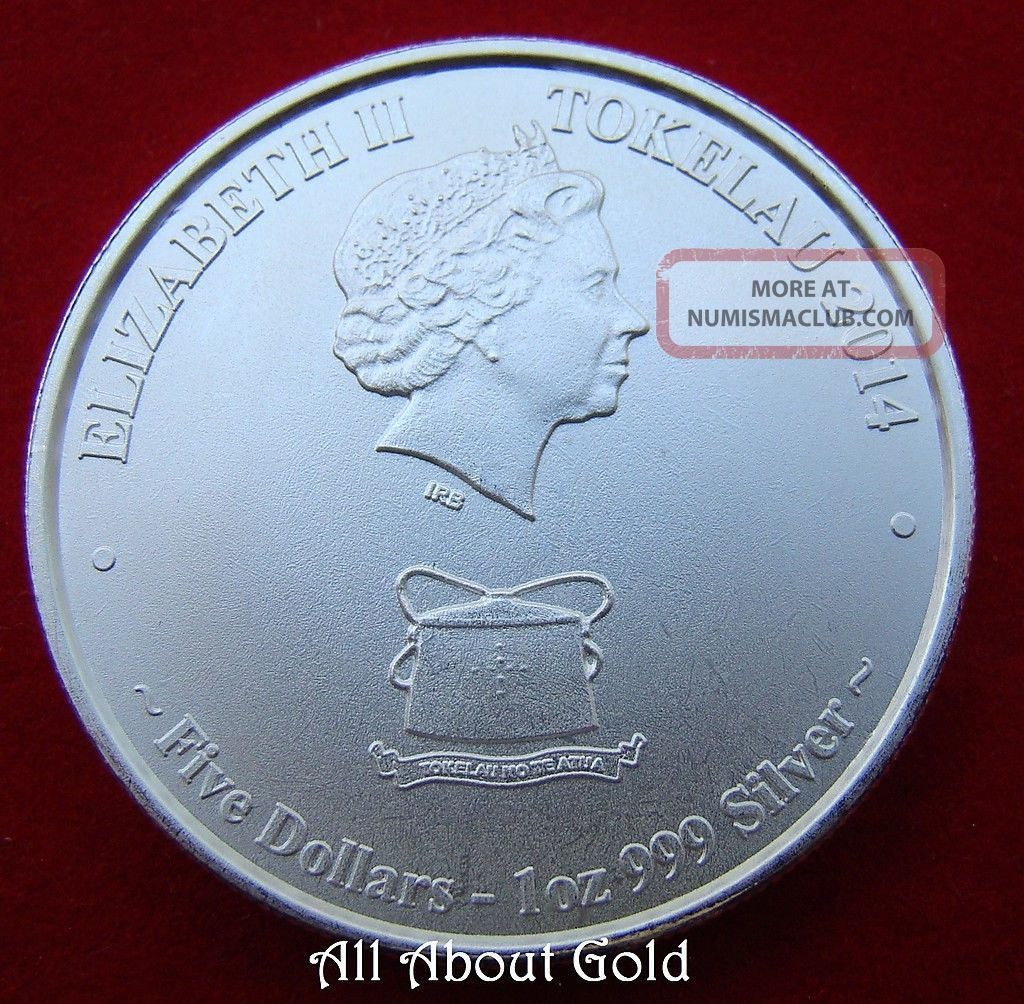 2014 Silver Coin 1 Troy Ounce Oz Yellowfin Tuna Tokelau