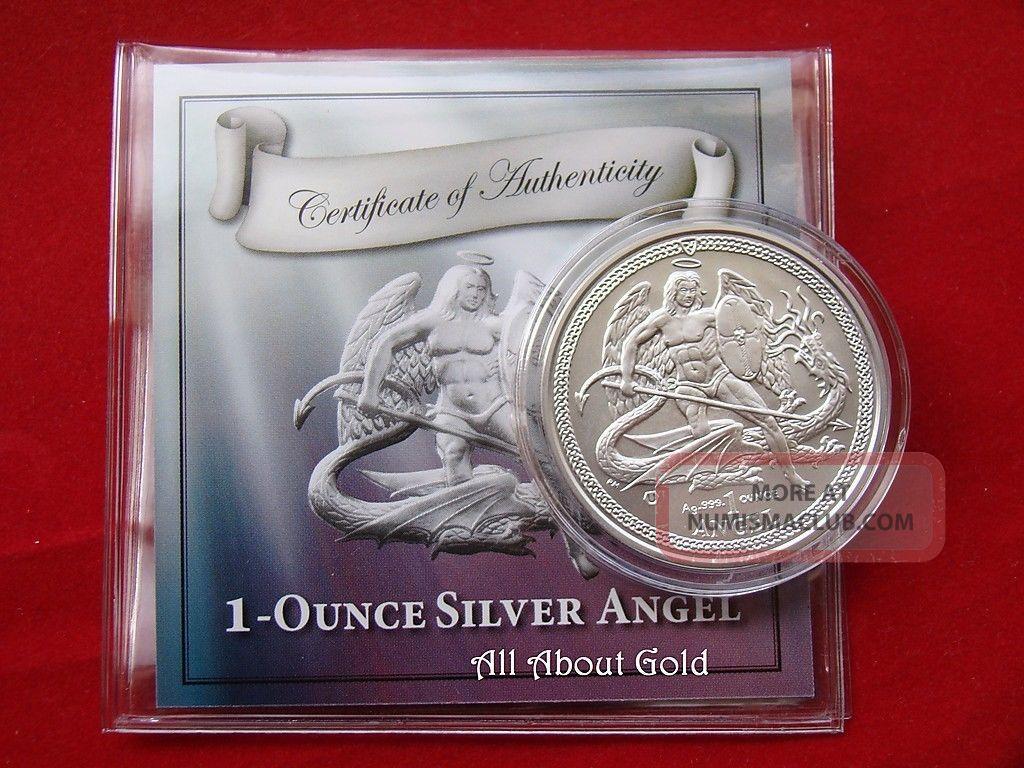 2014 Silver Coin 1 Troy Ounce Oz Angel Isle Of Man Saint