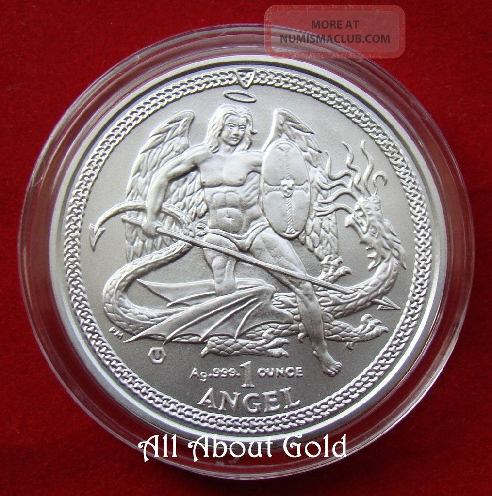 2014 Silver Coin 1 Troy Ounce Oz Angel Isle Of Man Saint