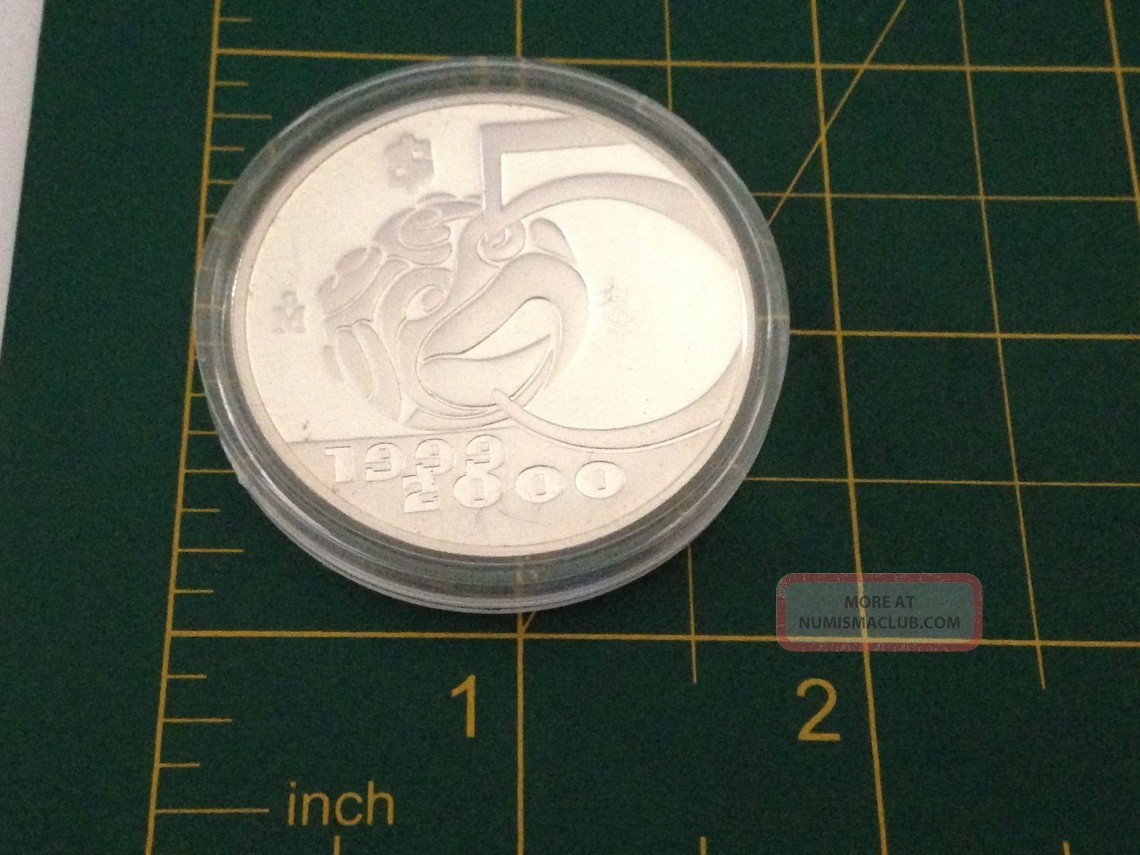 Mexico Silver 5 Pesos 1oz Millennium Series 1999 2000