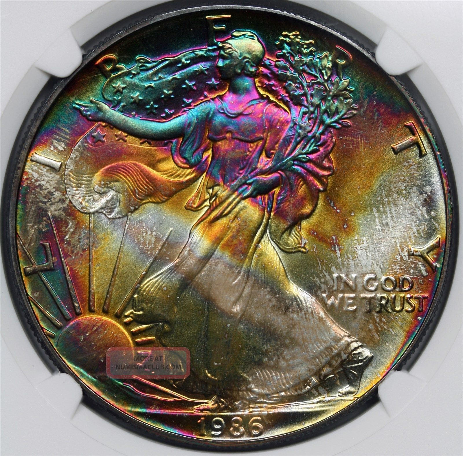 1986 Silver Eagle 1 Unc Details Ngc Artificial Toning