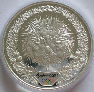 2000 Australia Sydney Olympics 1oz Silver Proof 5 Dollars Coin Echidna photo