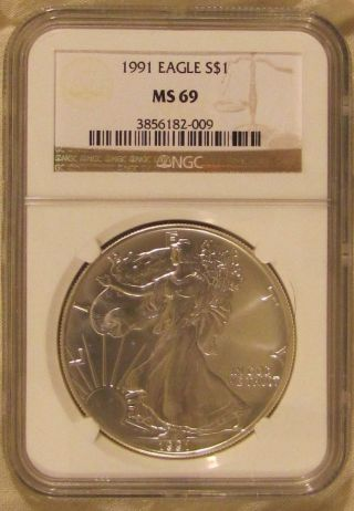 1991 Silver American Eagle 1 Oz Ngc Ms - 69 photo