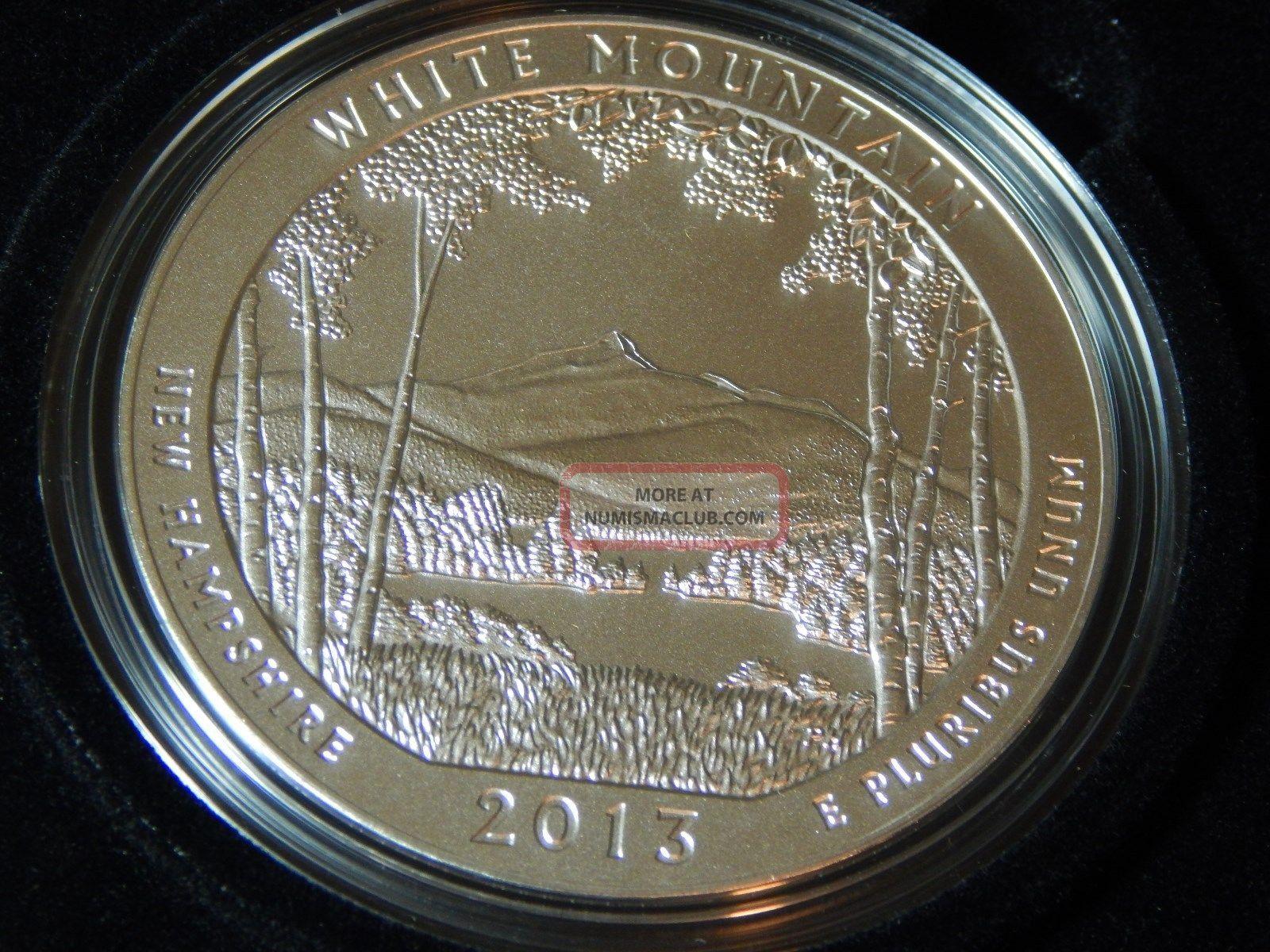 2013 P White Mountain Hampshireamerica The 5oz Silver Us Mintbox & Silver photo