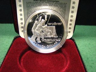 1997 Canada Silver Dollar 25th Ann.  Canada/ Ussr Hockey Silver Coin W/ Black Box photo