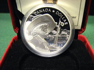 2008 Canada Proof Dollar 400th Anniversary Quebec Silver Coin W Plush Box & photo