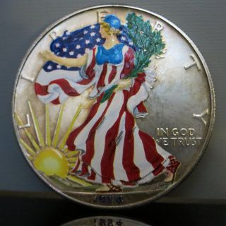 1994 Colorized American Eagle Silver $1 Dollar Coin - / photo