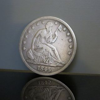 1845 - O Seated Liberty Us Silver Half Dollar 50c Coin With Drapery Wow S/h photo