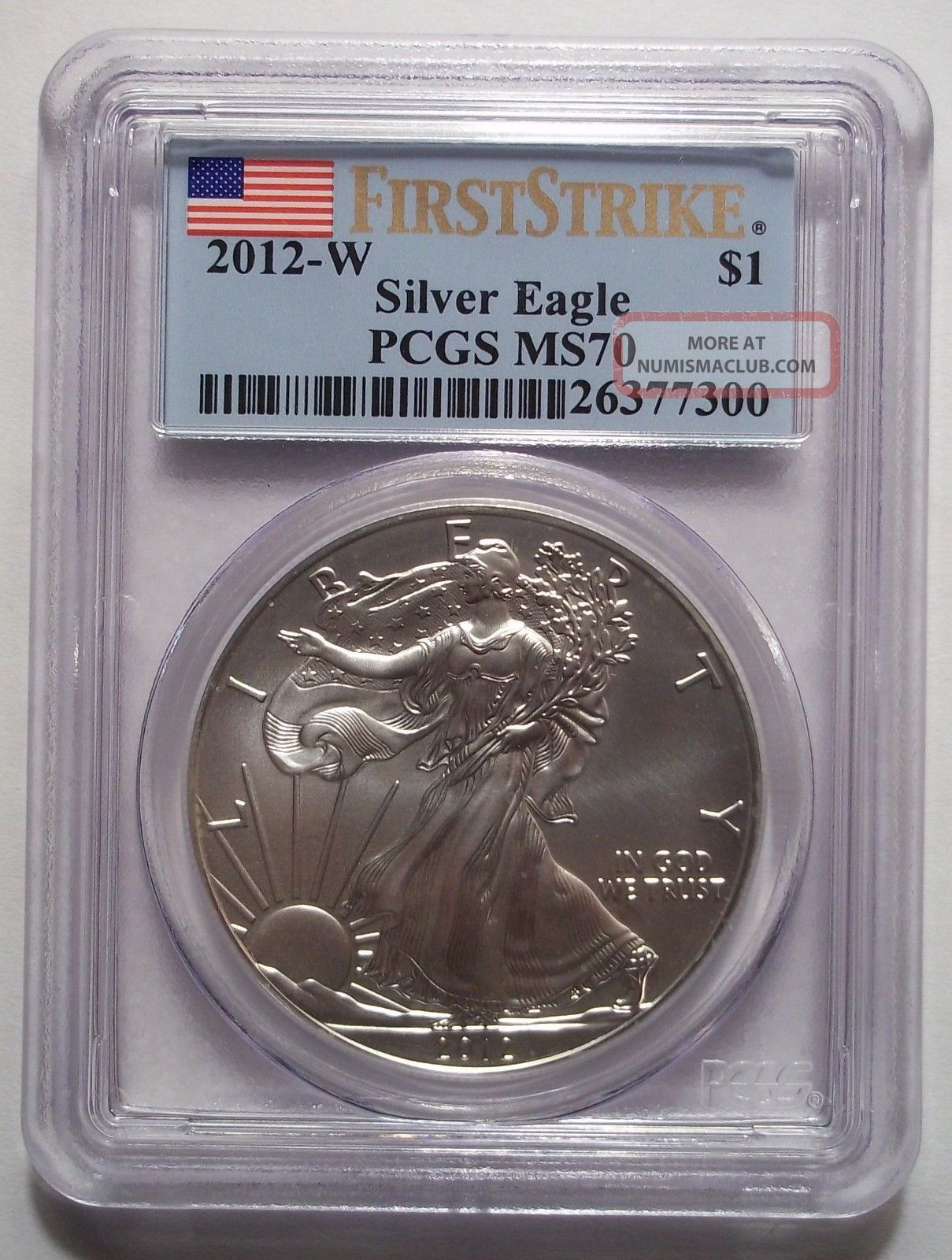 2012 W Burnished Silver Eagle Pcgs Ms70 West Point