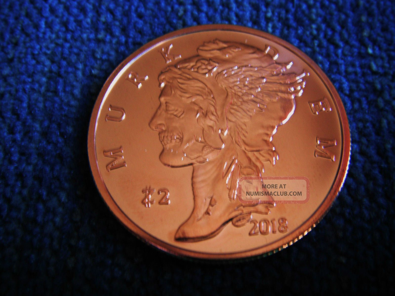 2018 Zombucks Murk Diem 1 Oz 999 Copper Coin Currency