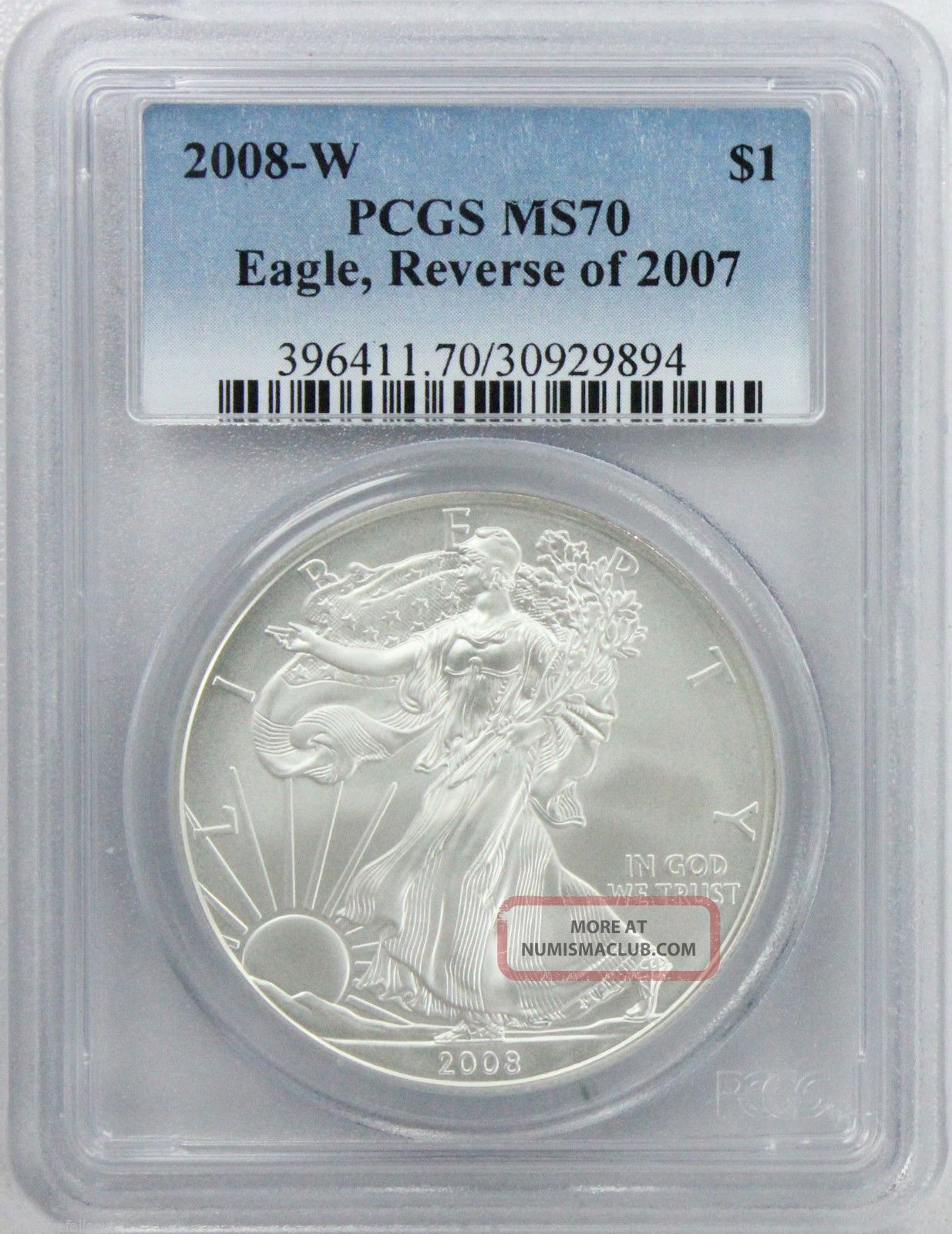 2008 W American Silver Eagle Burnished Reverse Of 2007