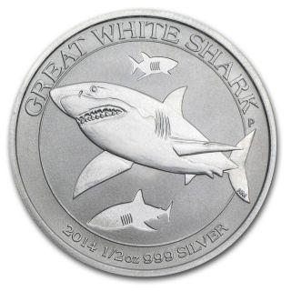 2014 1/2 Oz Silver Australian Great White Shark - Ready To Ship photo