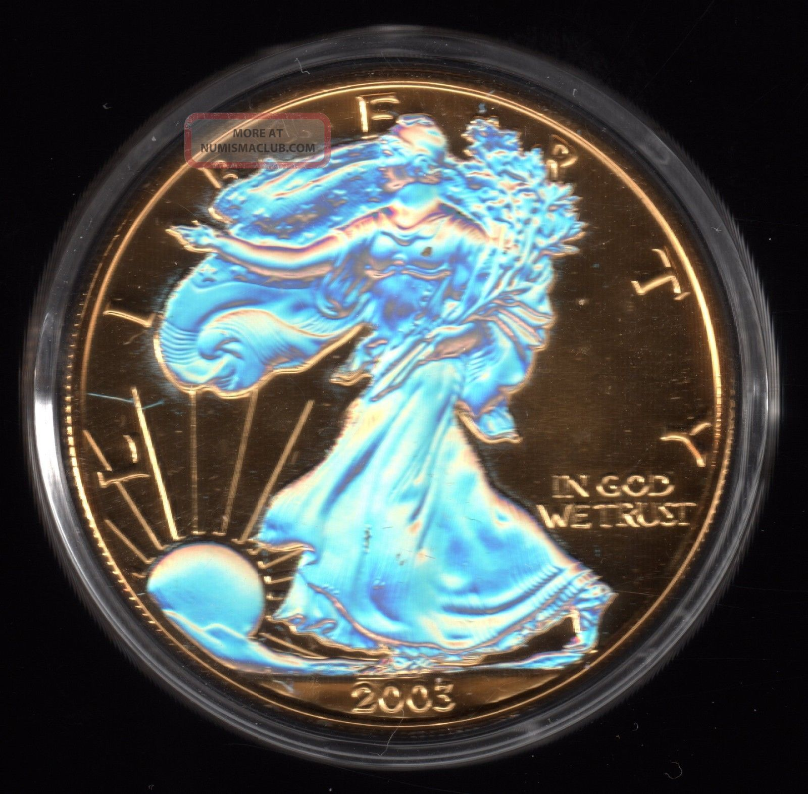 2003 American Gold Plated Hologram Silver Eagle 1 Dollar Coin