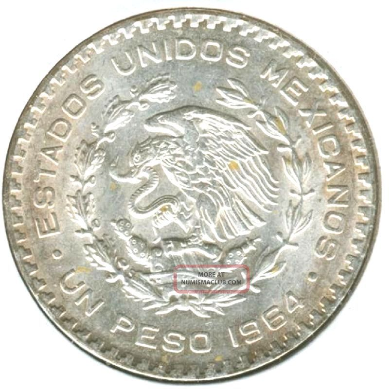 Un Peso 1964 Very Large Silver Coin 16 Grams 100 Silver