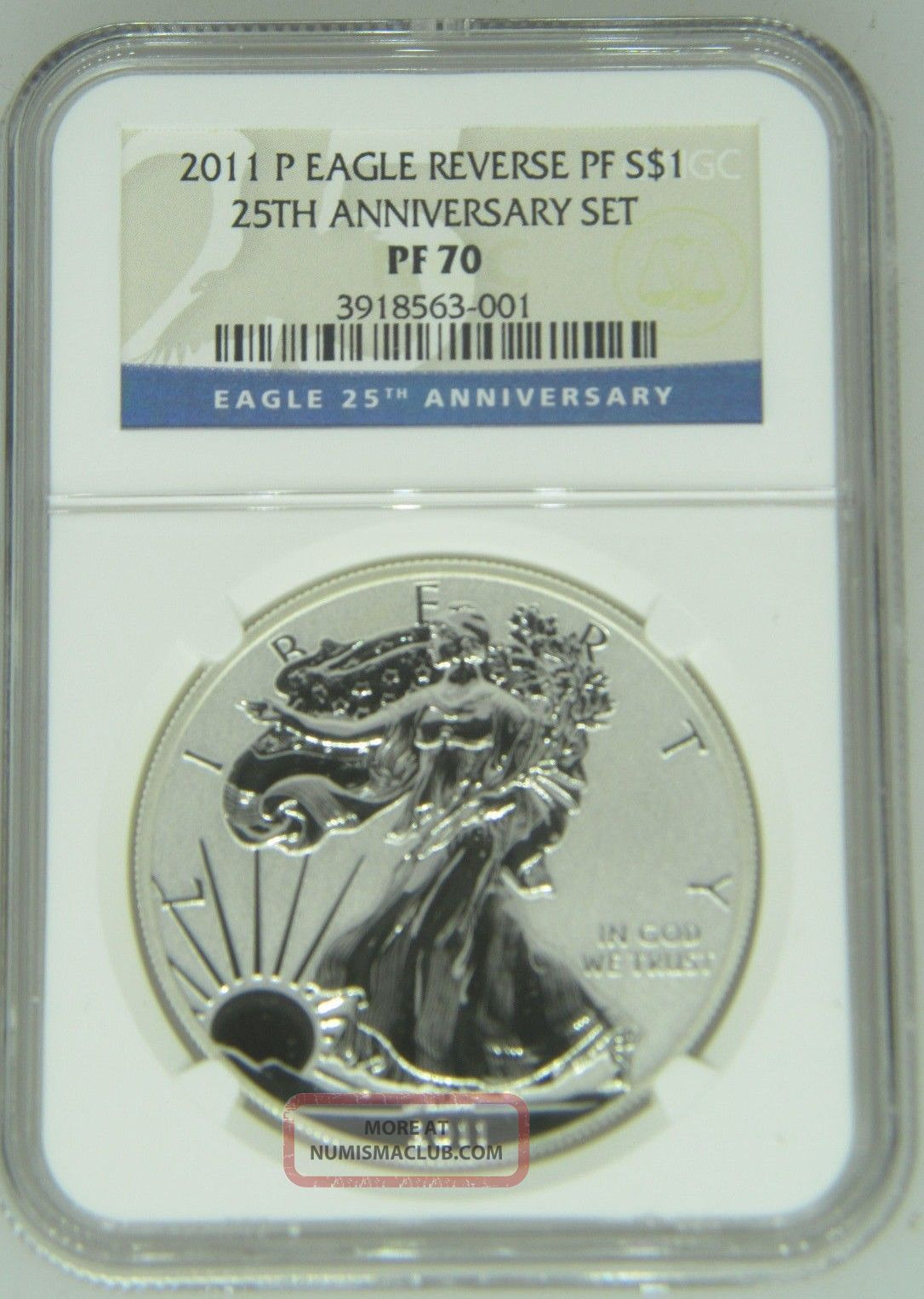 2011 P Silver Eagle Ngc Pr 70 25th Anniversary Reverse