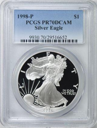 1998 - P $1 Pcgs Pr70 Dcameo American Proof Silver Eagle - Pr70 Rare.  999 1oz Z photo