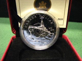 2010 Canada Silver Dollar 100th Ann.  Canadian Navy Silver Coin W/ Plush Box & photo