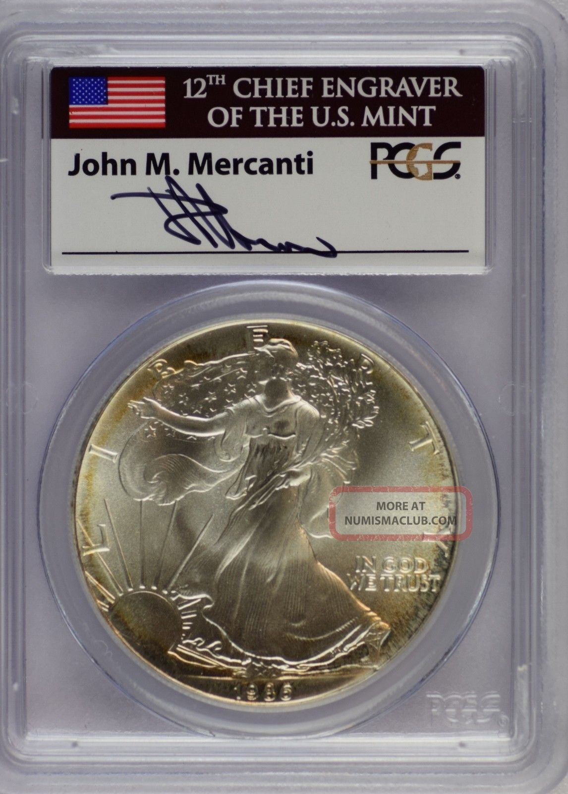 1986 American Silver Eagle Pcgs Ms69 Signed By John M