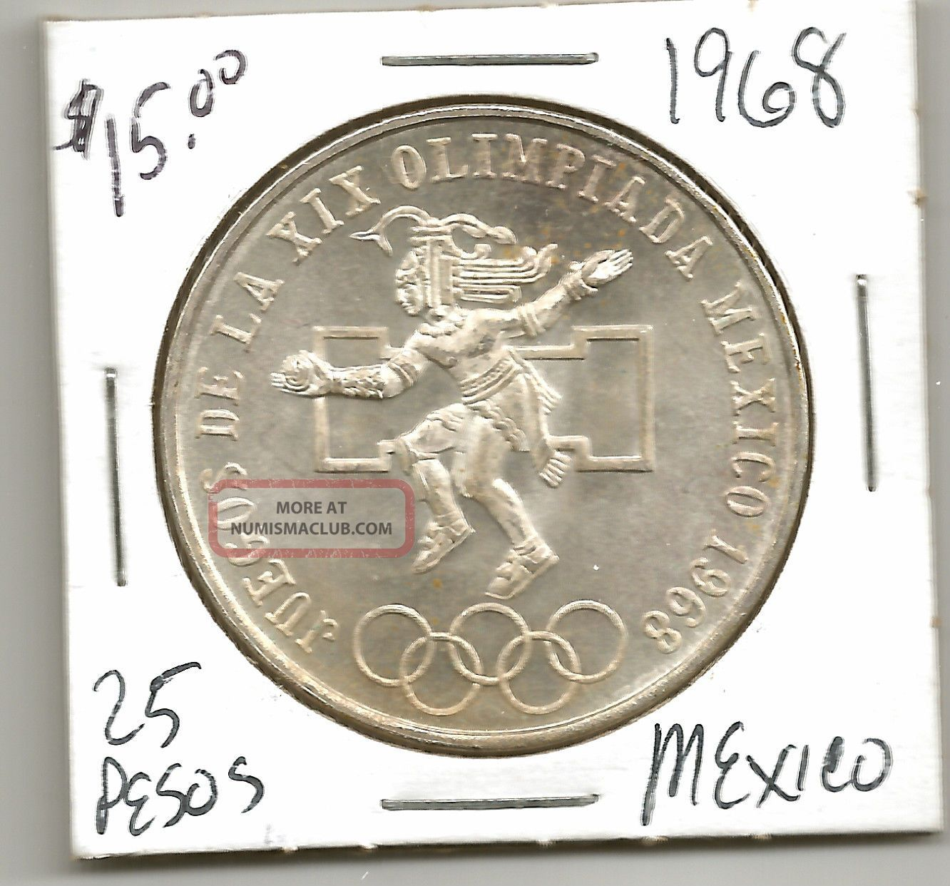 1968 Mexican 25 Pesos Olympics 720 Silver Coin Detail