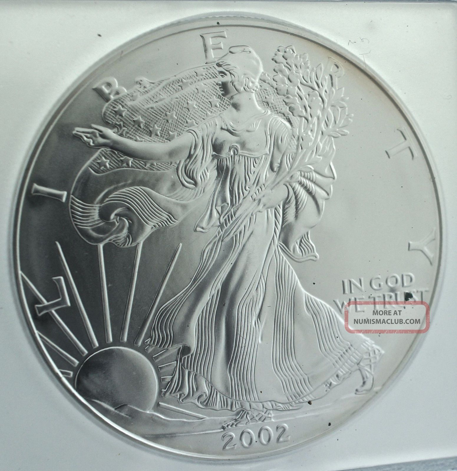 2002 American Silver Eagle One Dollar S 1 Icg Ms70