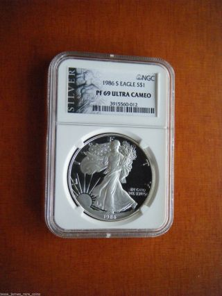 1986 American Silver Eagle Proof 69 Ultra Cameo,  Ngc Graded. photo
