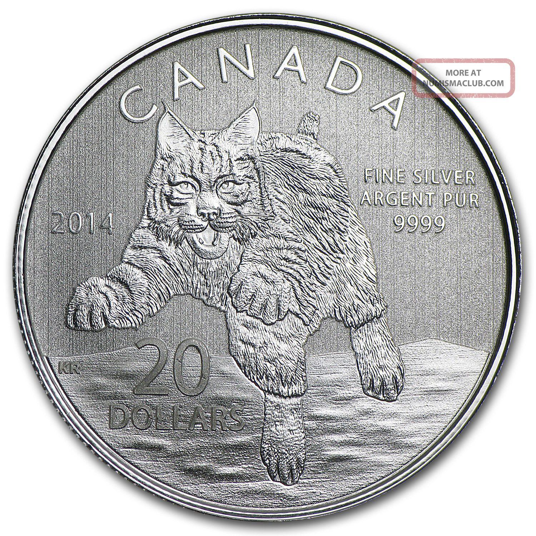 2014 1 4 Oz Silver Canadian 20 Coin Bobcat