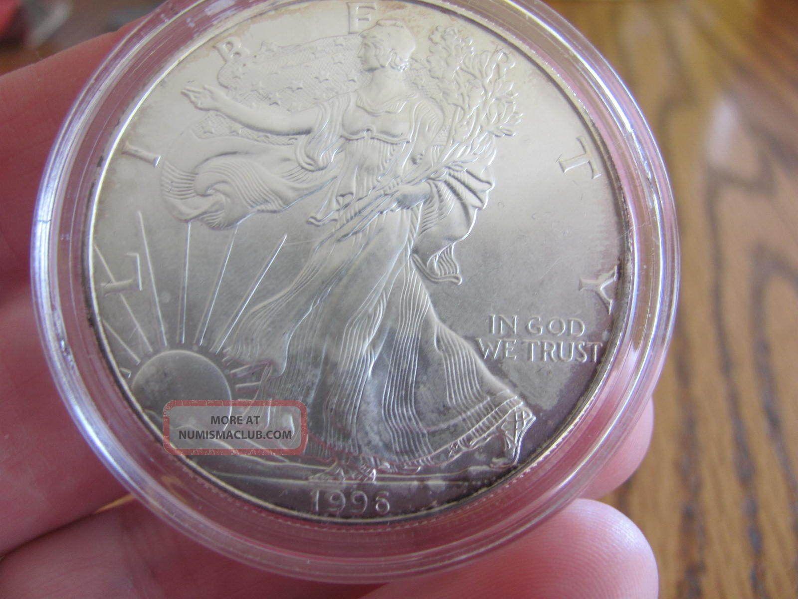 1996 1 0z Fine Silver U S Dollar In Protective Case
