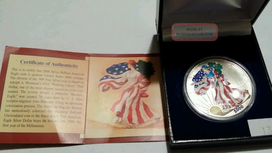 2000 American Eagle Silver Dollar In Full Color Gem