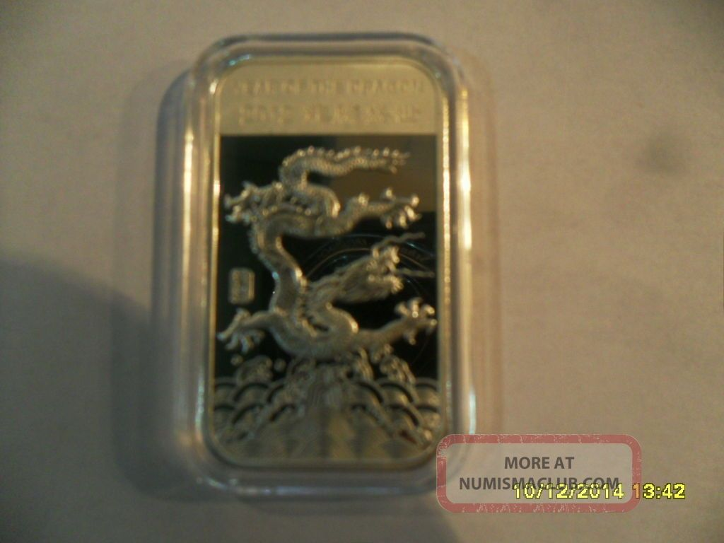 1 Troy Ounce 999 Fine Silver Bar 2012 Year Of The Dragon