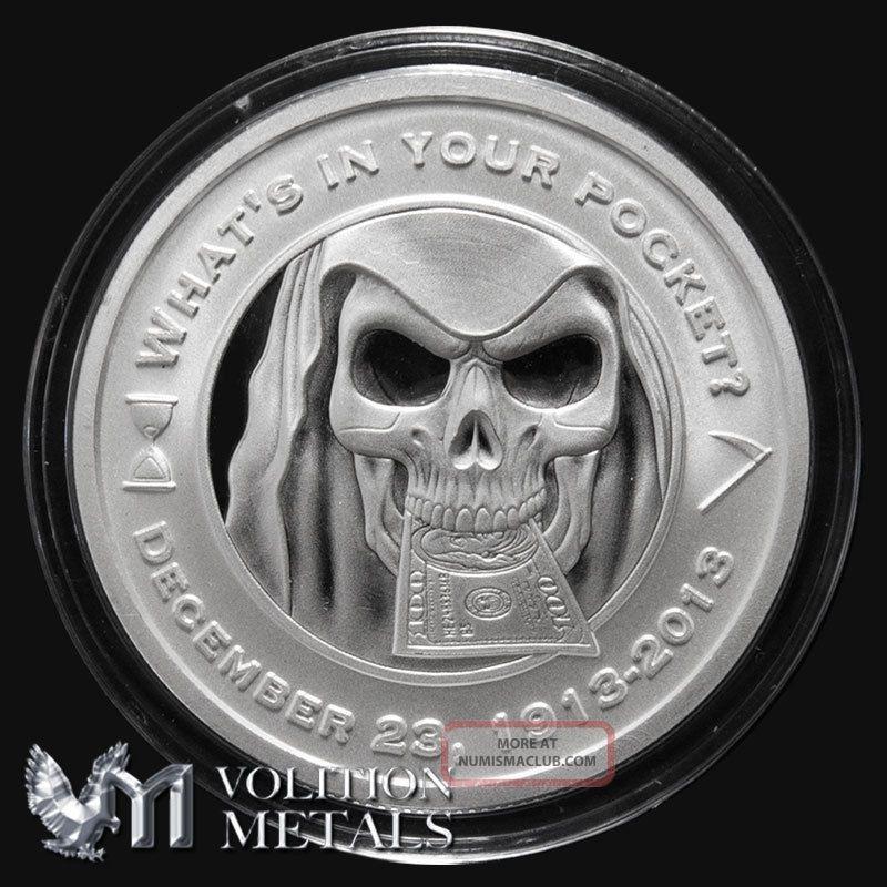 Grim Reaper 1 Oz 999 Silver Bullion Round With Plastic Cap