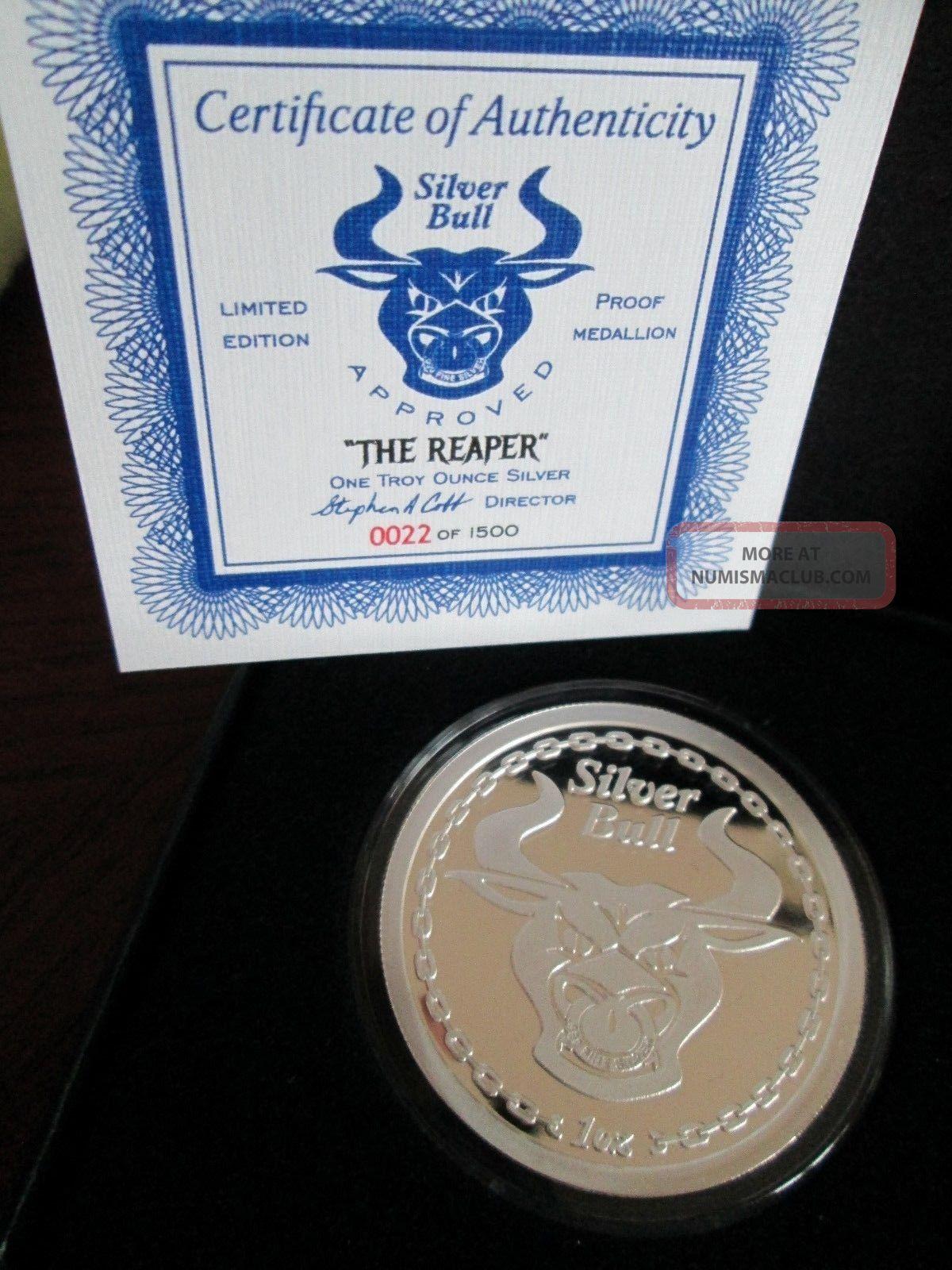 1 Oz Silver Bull Grim Reaper 999 Fine Silver Proof Round