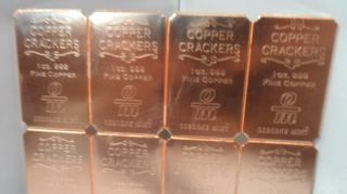 One Pound Copper Cracker.  999 Fine Copper Bullion (1 Oz. ) Divisible Art Bar F/s photo