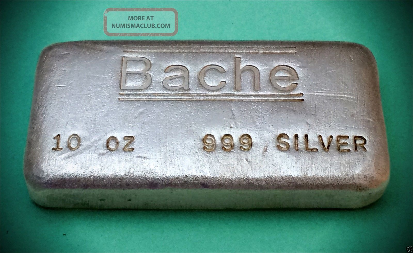 Bache Old Poured 10 Troy Oz 999 Silver Bar