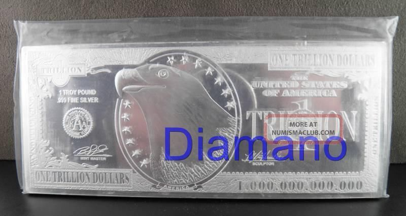 12 Troy Ounce 999 Silver Trillion Dollar Bar One Troy