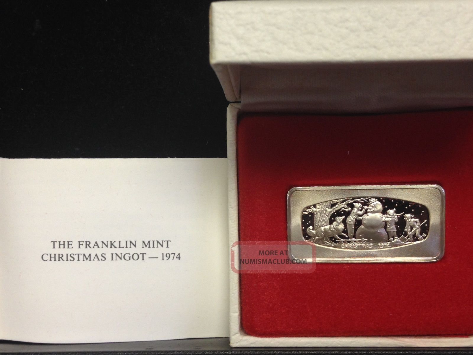 1974 Franklin Christmas Ingot 500 Grains Sterling Silver