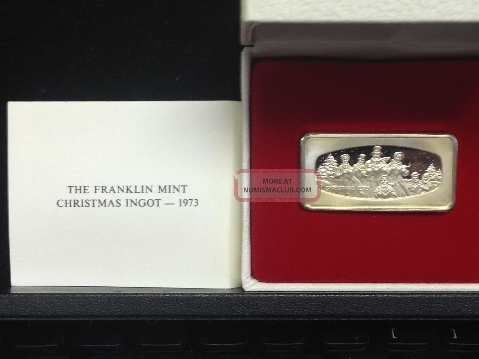 1973 Franklin Christmas Ingot 1000 Grains Sterling Silver