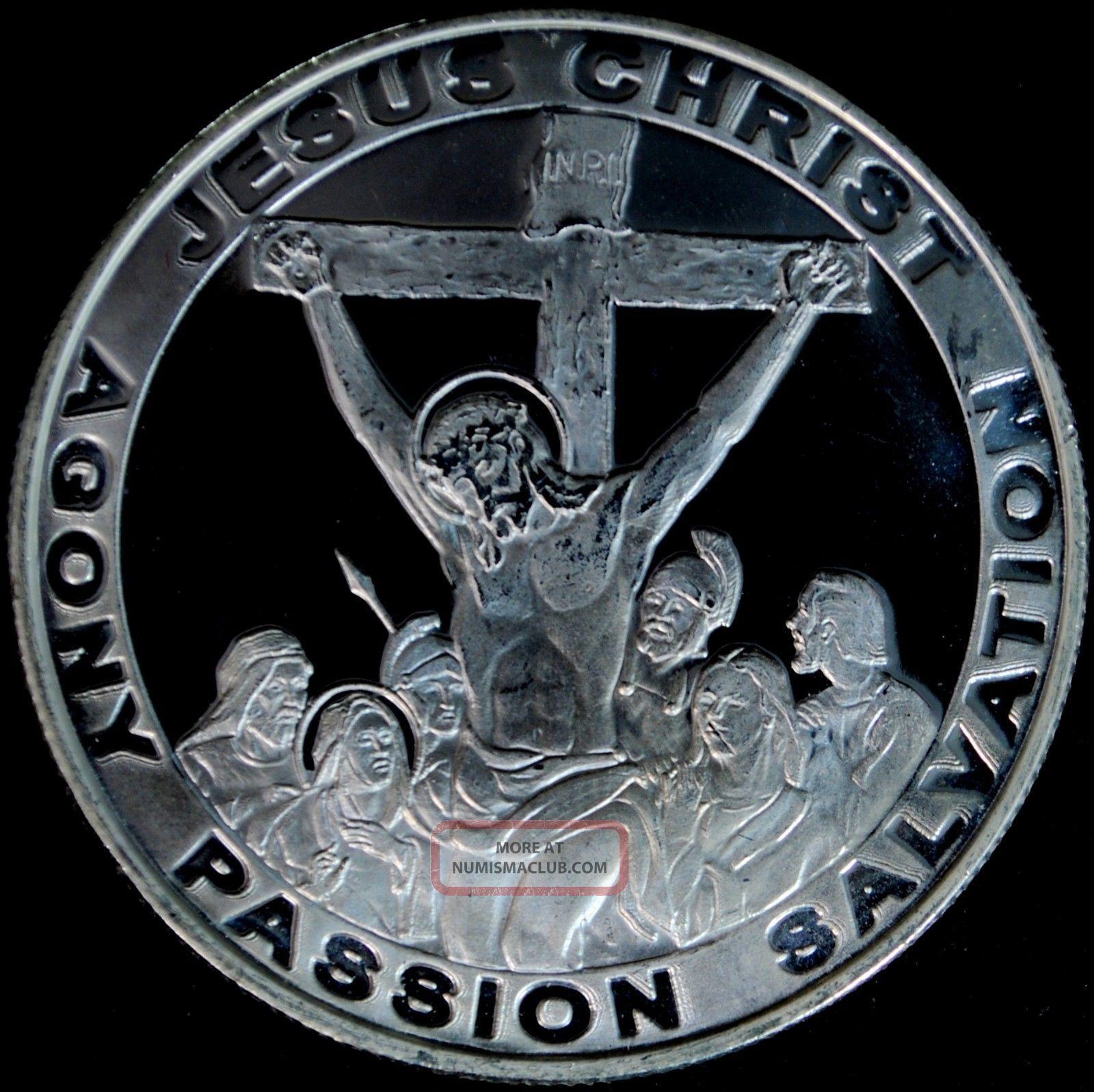 Jesus Christ On Cross 1 Troy Oz 999 Fine Silver Round