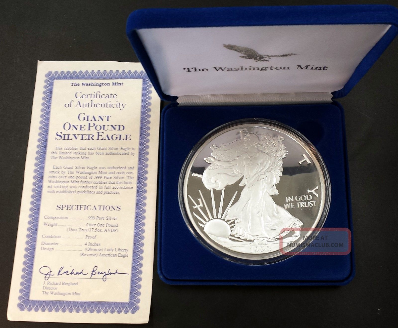 1998 Giant One Pound Silver Eagle Sixteen Troy Ounces 0